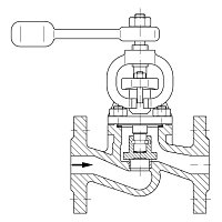 AW 348 Self-closing Valve with lever and weight, straight pattern