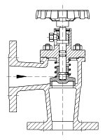 AW 35904 Self-closing Valve, springloaded, angle pattern, with hand wheel