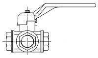 AW 4017 Three-way Ball Valve, female thread