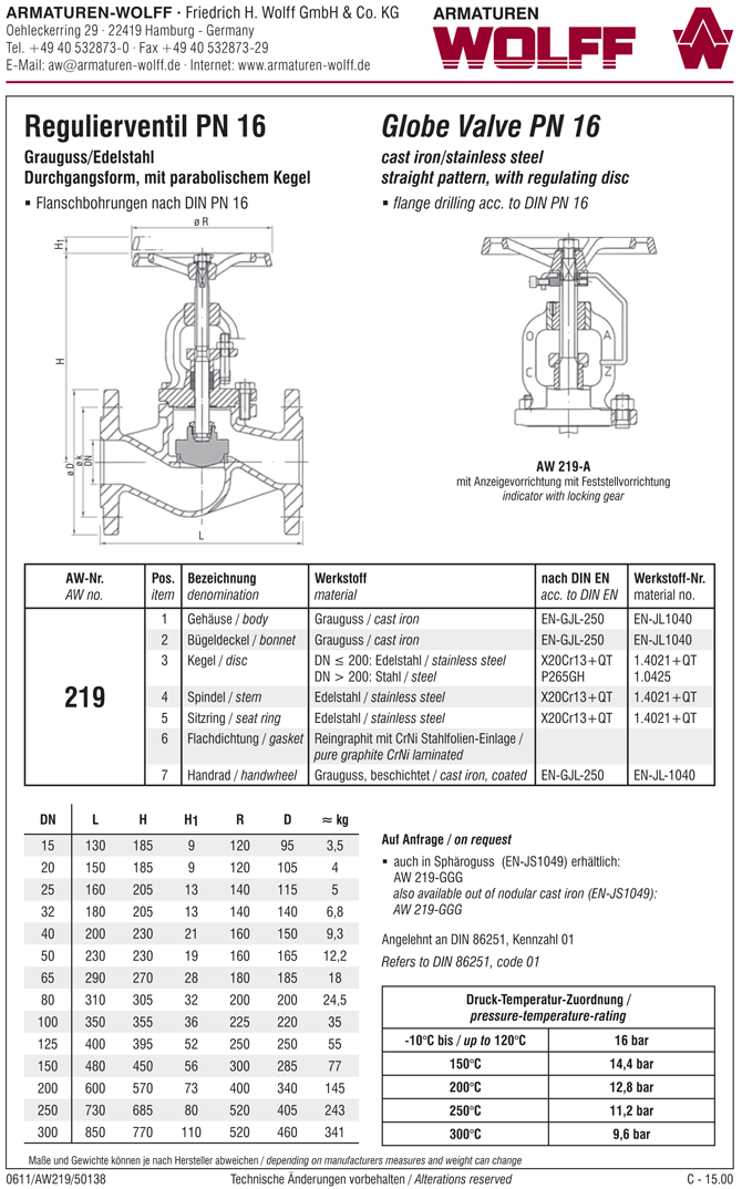 AW 219 Flanged Regulating Valve