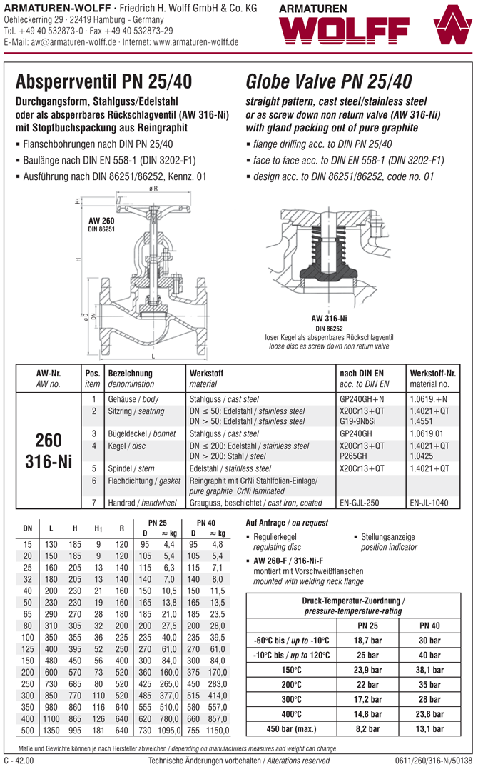 AW 260 Flanged Stop Valve