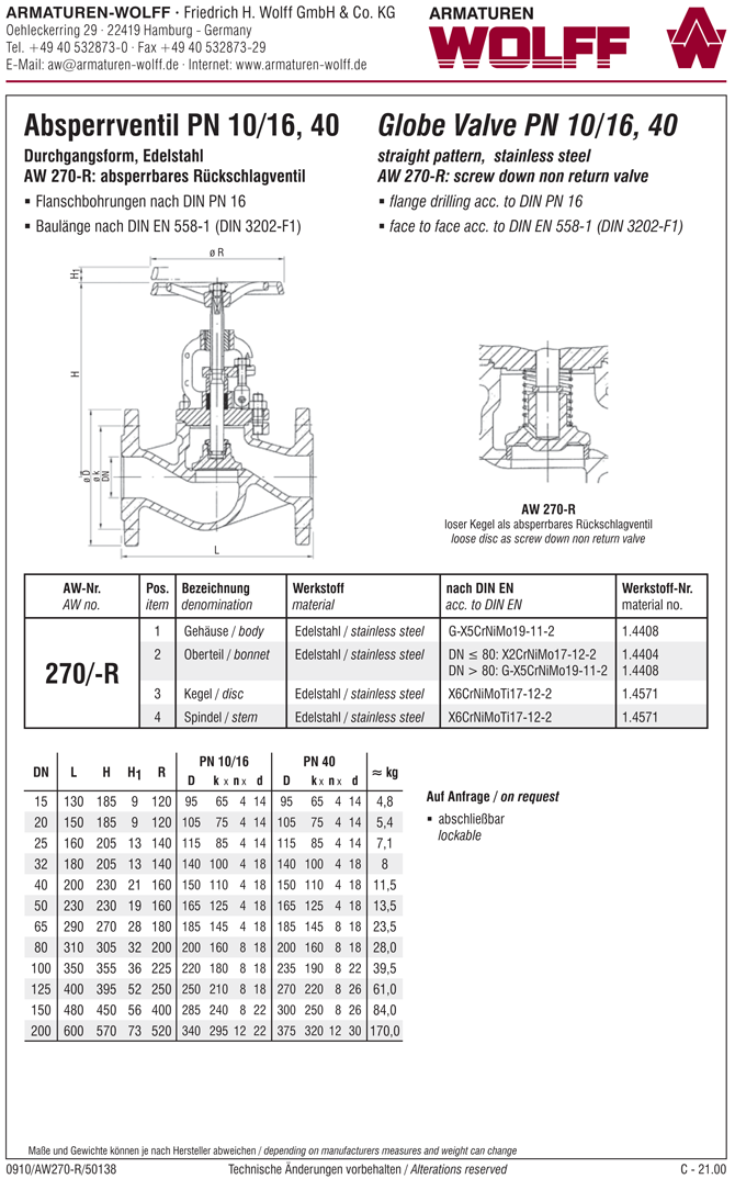 AW 270-R Flanged SDNR Valve