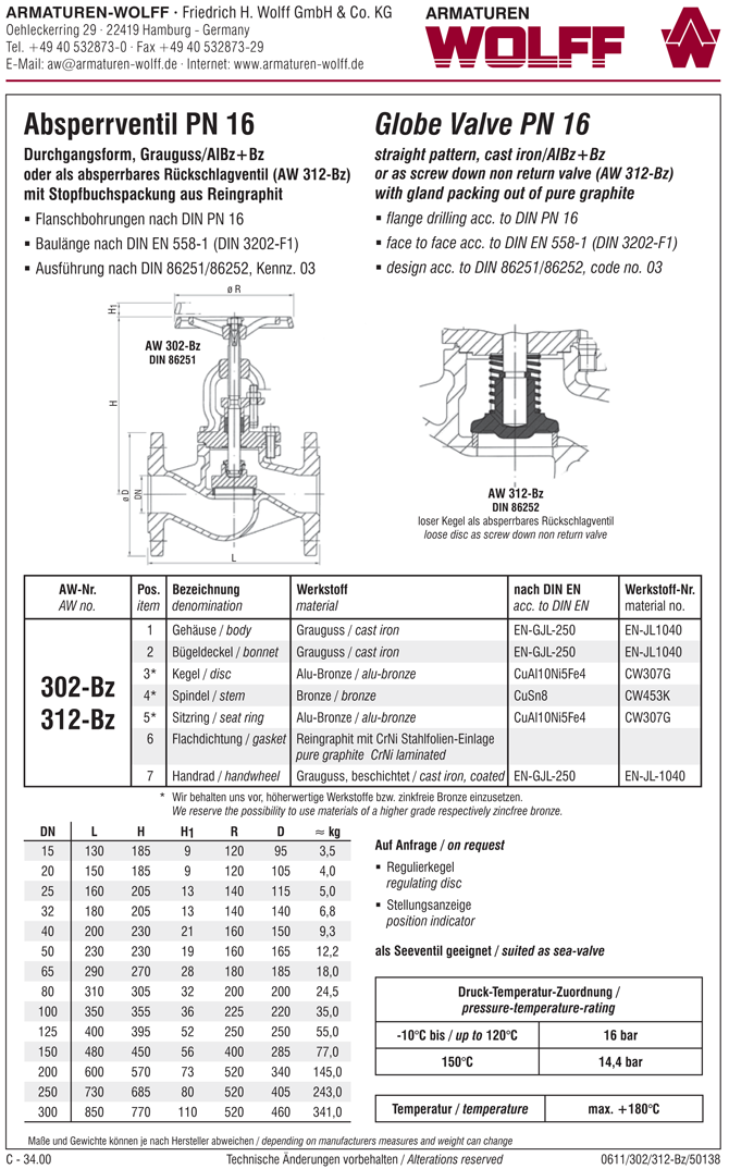 AW 302-Bz Flanged Stop Valve