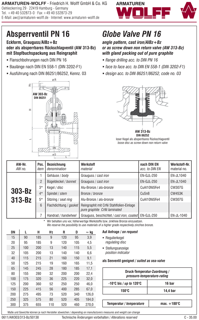 AW 303-Bz Flanged Stop Valve, angle pattern
