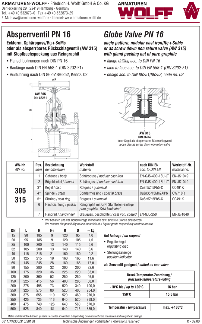 AW 315 Flanged SDNR Valve, angle pattern