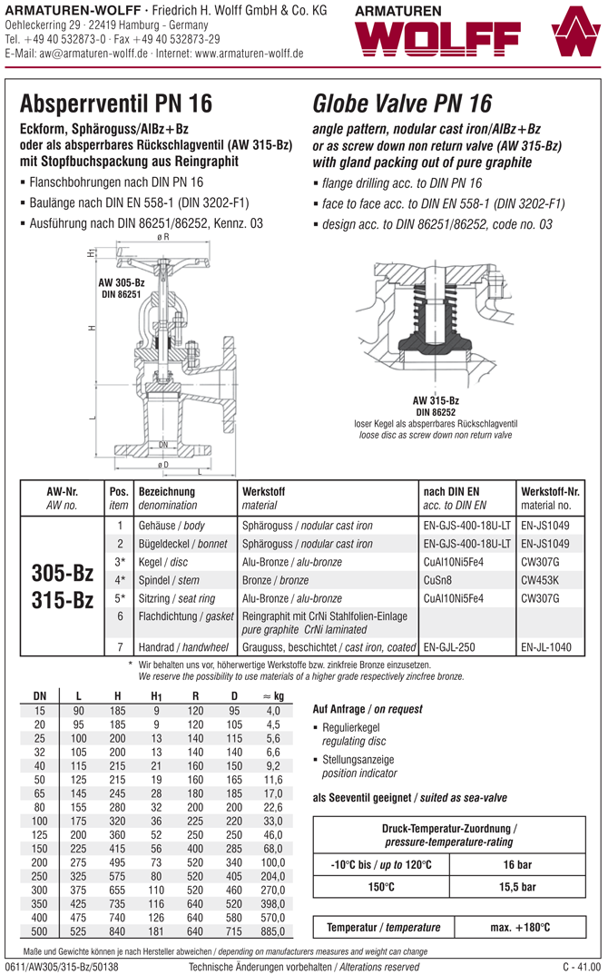 AW 305-Bz Flanged Stop Valve, angle pattern