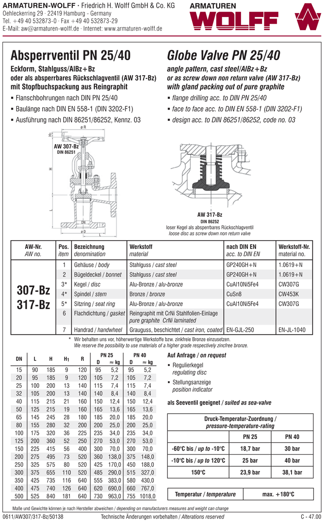 AW 307-Bz Flanged Stop Valve, angle pattern