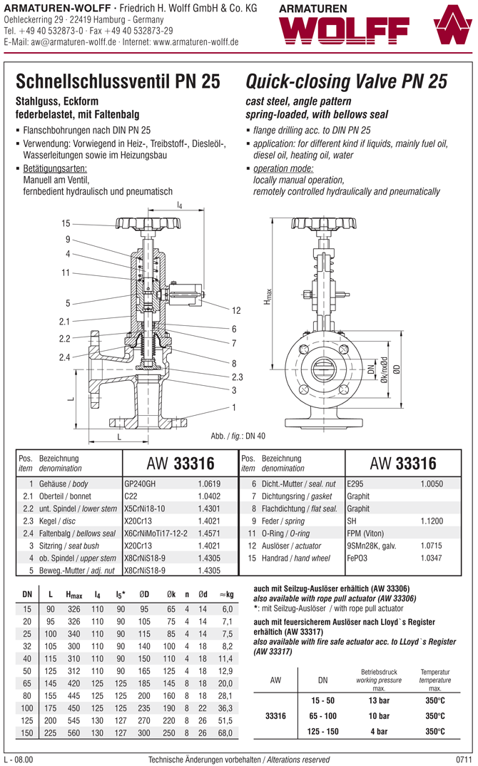 AW 33317 Quick-closing Valve with bellows seal, angle pattern, hydr./pn. operation, fire safe