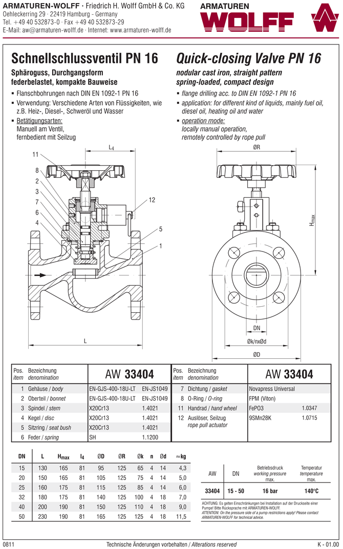 AW 33404 Quick-closing Valve, springloaded, straight pattern, manual operation