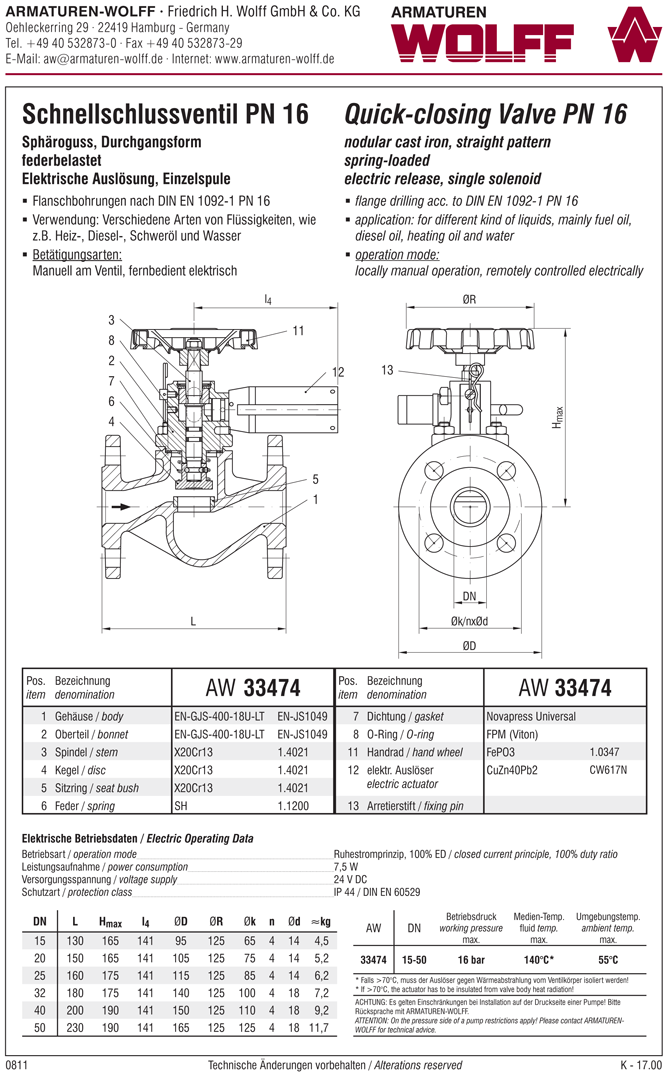 AW 33474 Quick-closing Valve, springloaded, straight pattern, electrical operation
