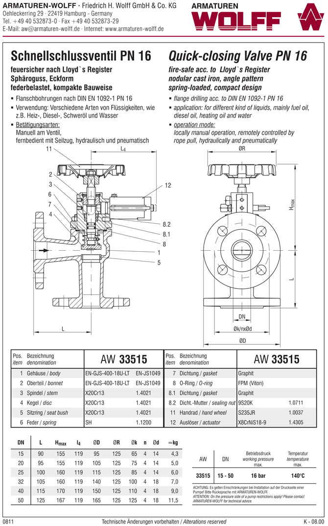 AW 33515 Quick-closing Valve, springloaded, angle pattern, hydr./pn. operation, fire safe