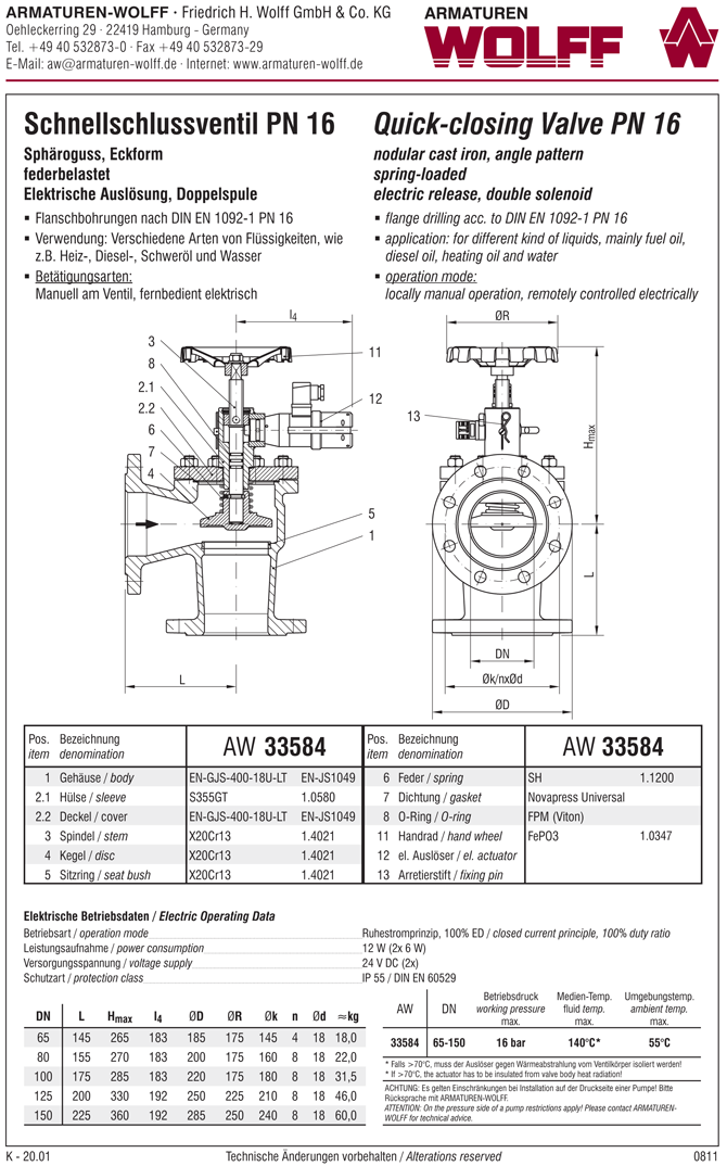AW 33584 Quick-closing Valve, springloaded, angle pattern, electrical operation, double coil