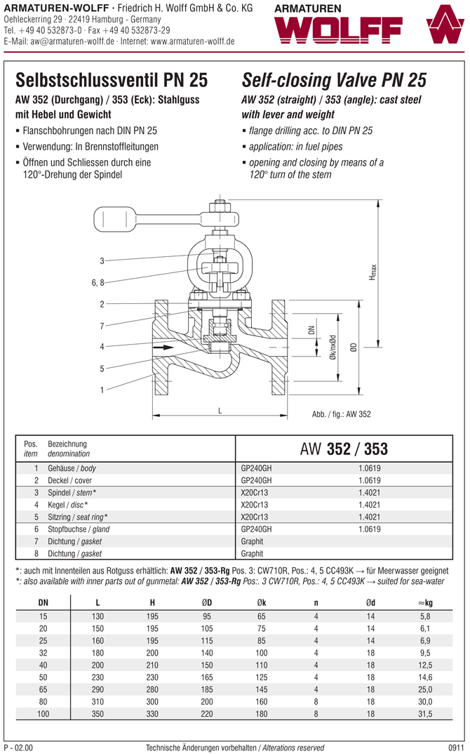 AW 352-Rg Self-closing Valve with lever and weight, straight pattern