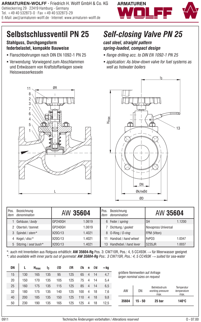 AW 35604 Self-closing Valve, springloaded, straight pattern, with hand wheel