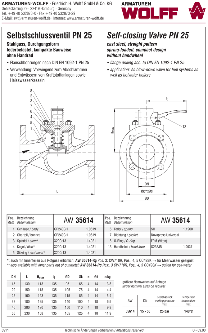 AW 35614-Rg Self-closing Valve, springloaded, straight pattern, without hand wheel