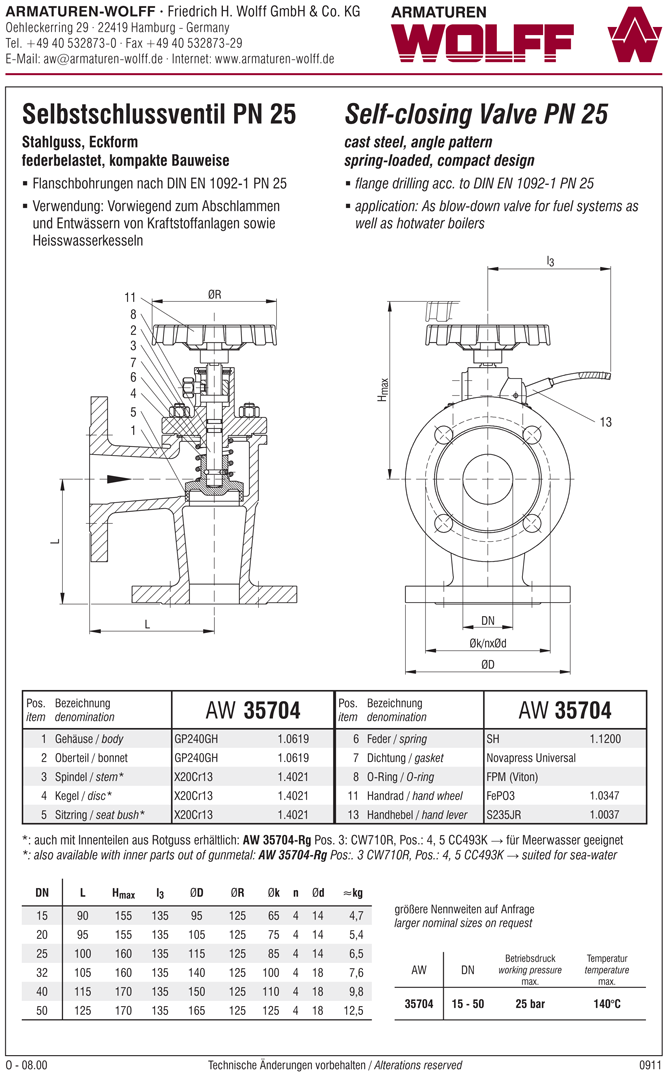 AW 35704-Rg Self-closing Valve, springloaded, angle pattern, with hand wheel