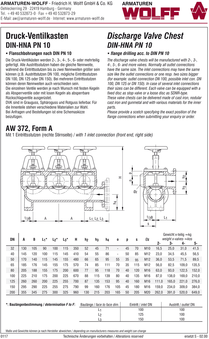 AW 372 Discharge Valve Chest, form A to E