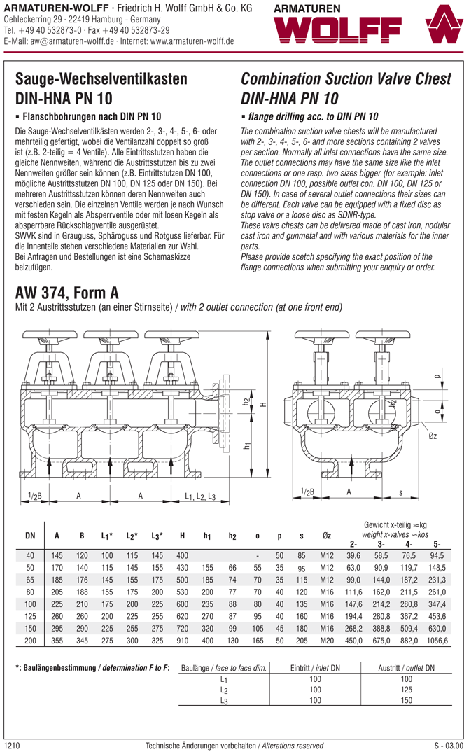 AW 374 Combination Suction Valve Chest, form A to D