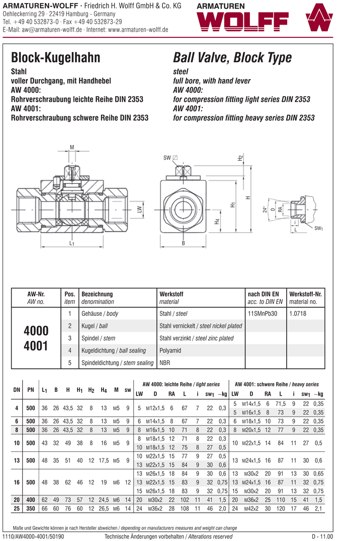 AW 4001 Ball Valve, block type, compression fitting heavy series