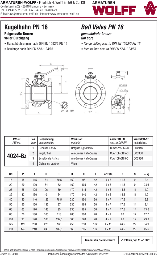 AW 4024-Bz Flanged Ball Valve, F4/F5
