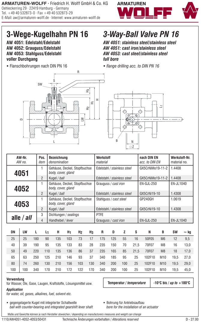 AW 4053 Flanged Three-way Ball Valve with gland