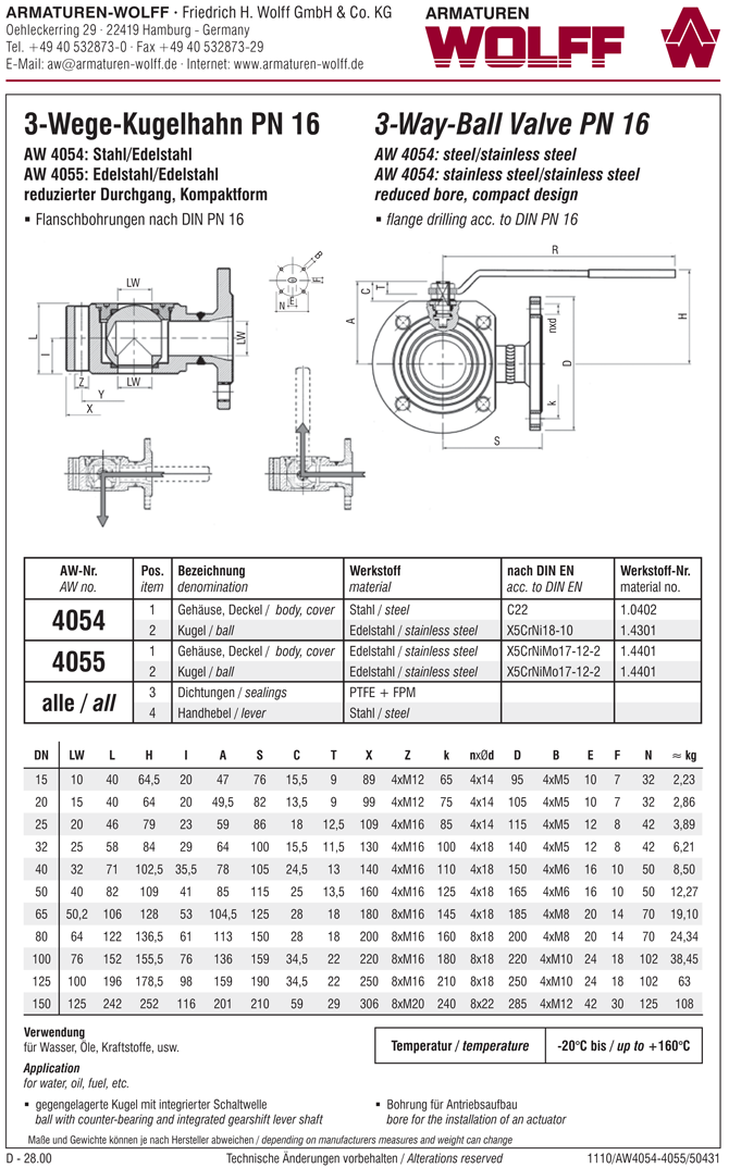 AW 4055 Compact Three-way Ball Valve