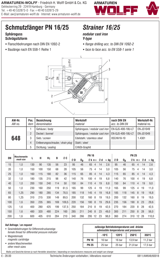 AW 648 Y-type Strainer, flanged type