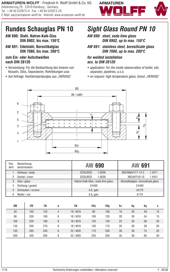 AW 691 Sight Glass, circular, welded installation, DIN 28120