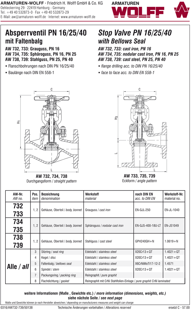 AW 735 Flanged Stop Valve with bellows seal, angle pattern