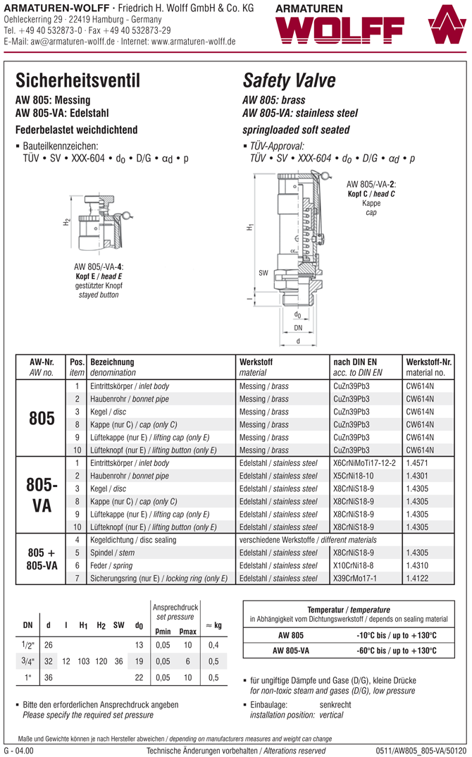 AW 805-VA Safety Valve, male thread, free blow off