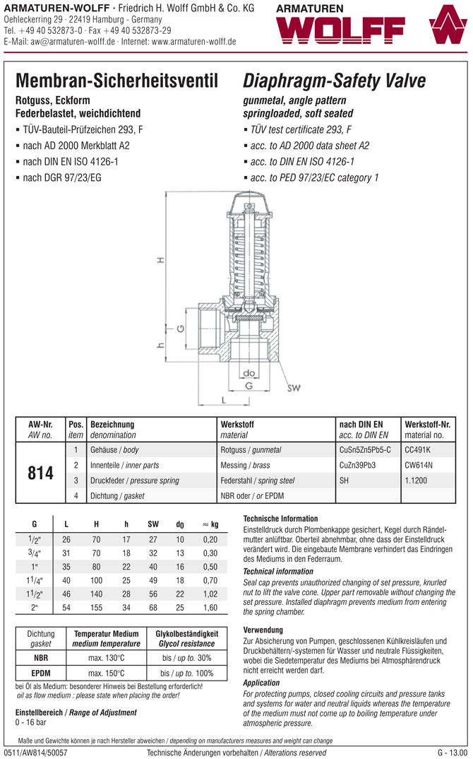 AW 814 Diaphragm Safety Valve, angle pattern, female thread