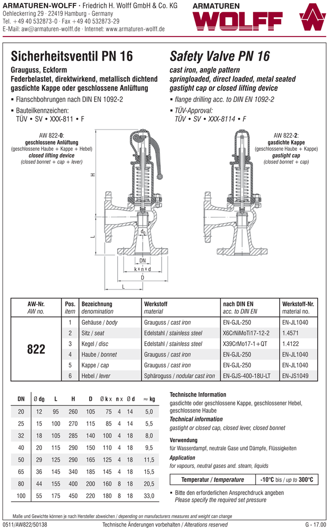 AW 822 Flanged Safety Valve, angle pattern, closed bonnet