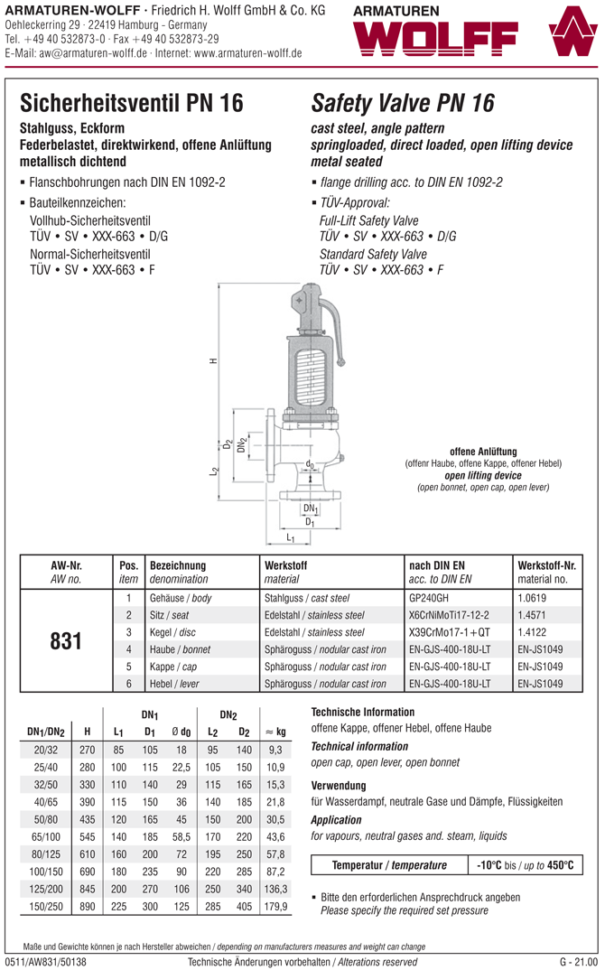 AW 831 Flanged Full-lift Safety Valve, angle pattern, open bonnet, liftable