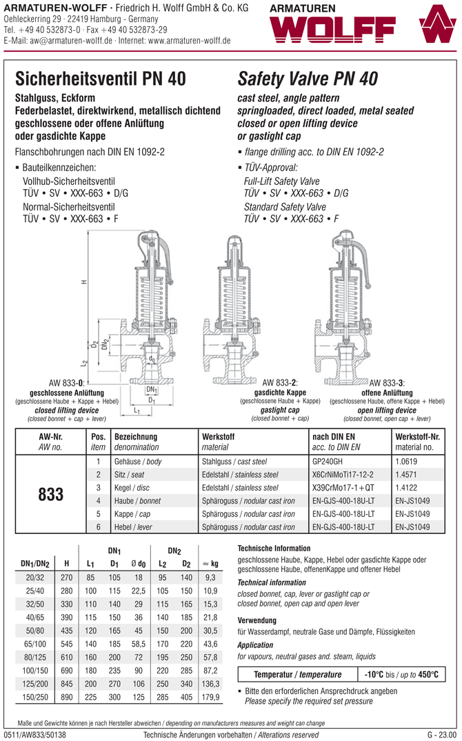 AW 833 Flanged Full-lift Safety Valve, angle pattern, closed bonnet