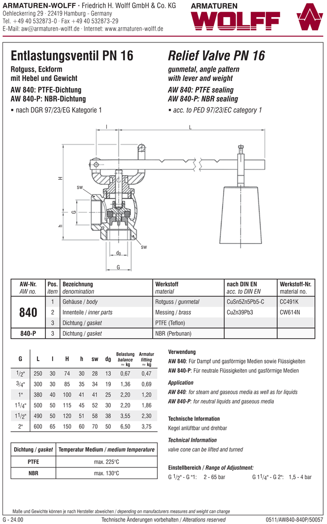 AW 840-P Relief Valve with arm and weight